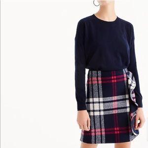 NWT J.Crew Plaid Ruffle Wool Mini Skirt